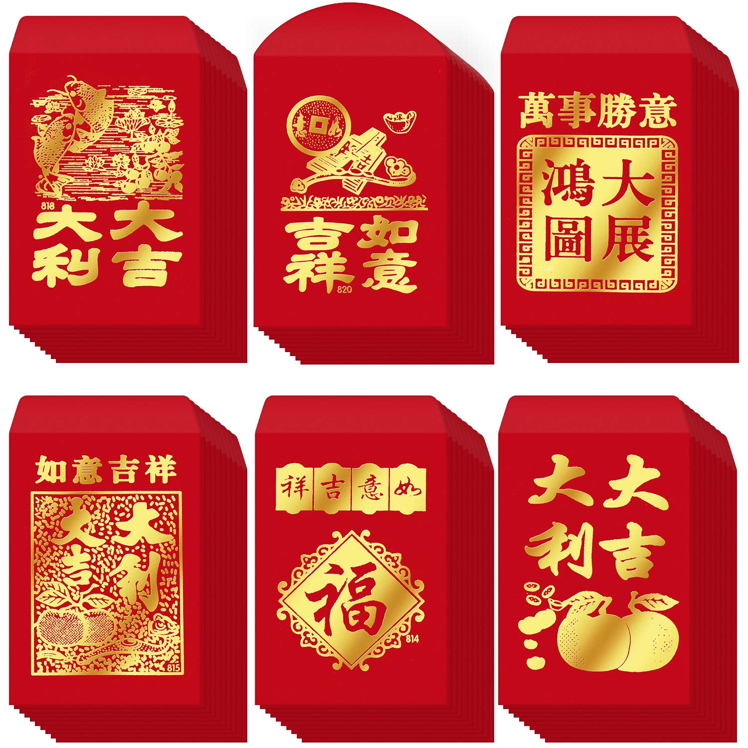 120 Pieces Chinese Red Envelopes Chinese New Year Hong Bao Red Pockets for Spring Festival Wedding Birthday