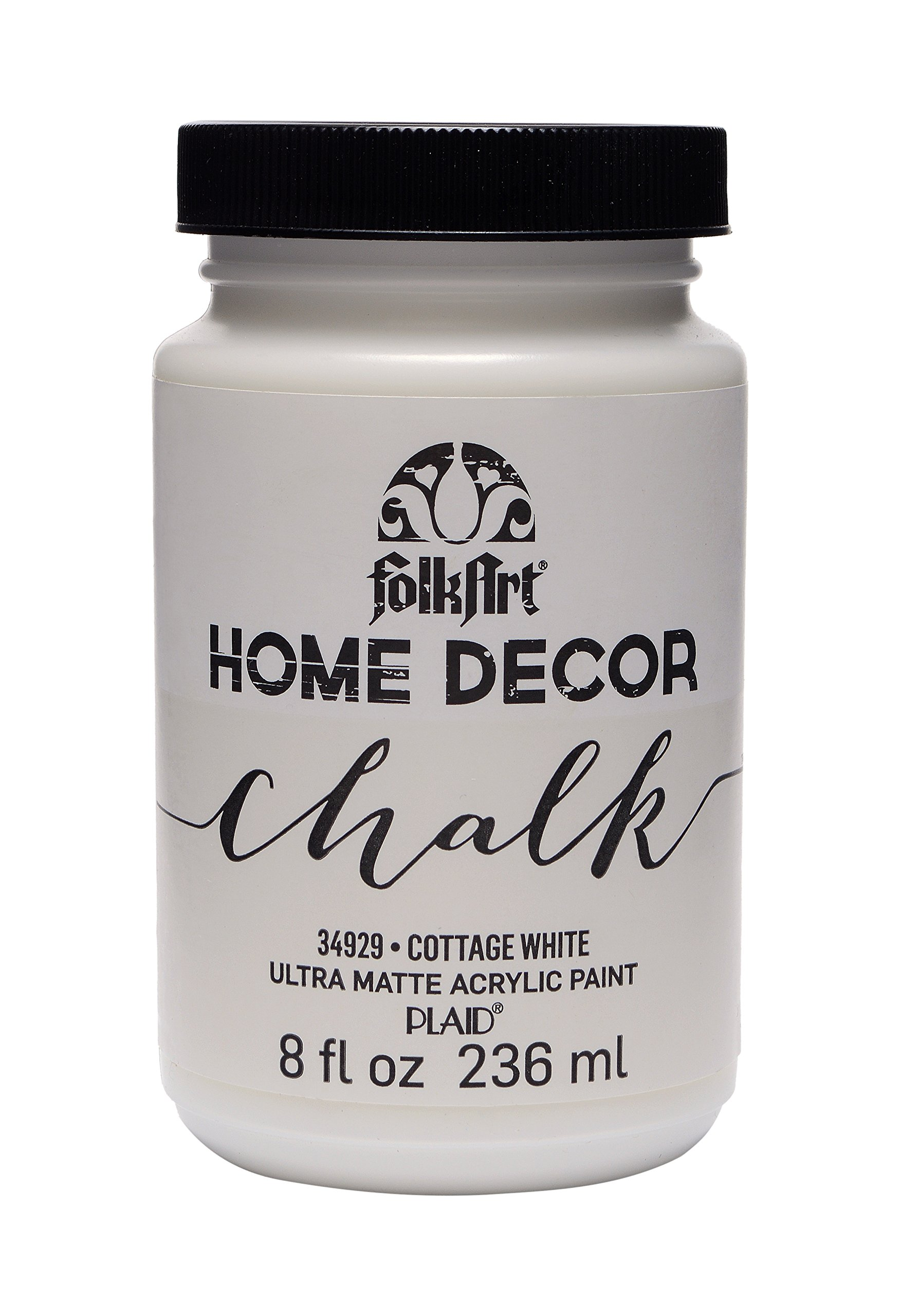 FolkArt Home Decor Chalk Furniture & Craft Paint in Assorted Colors (8 Ounce), 34929 Cottage White