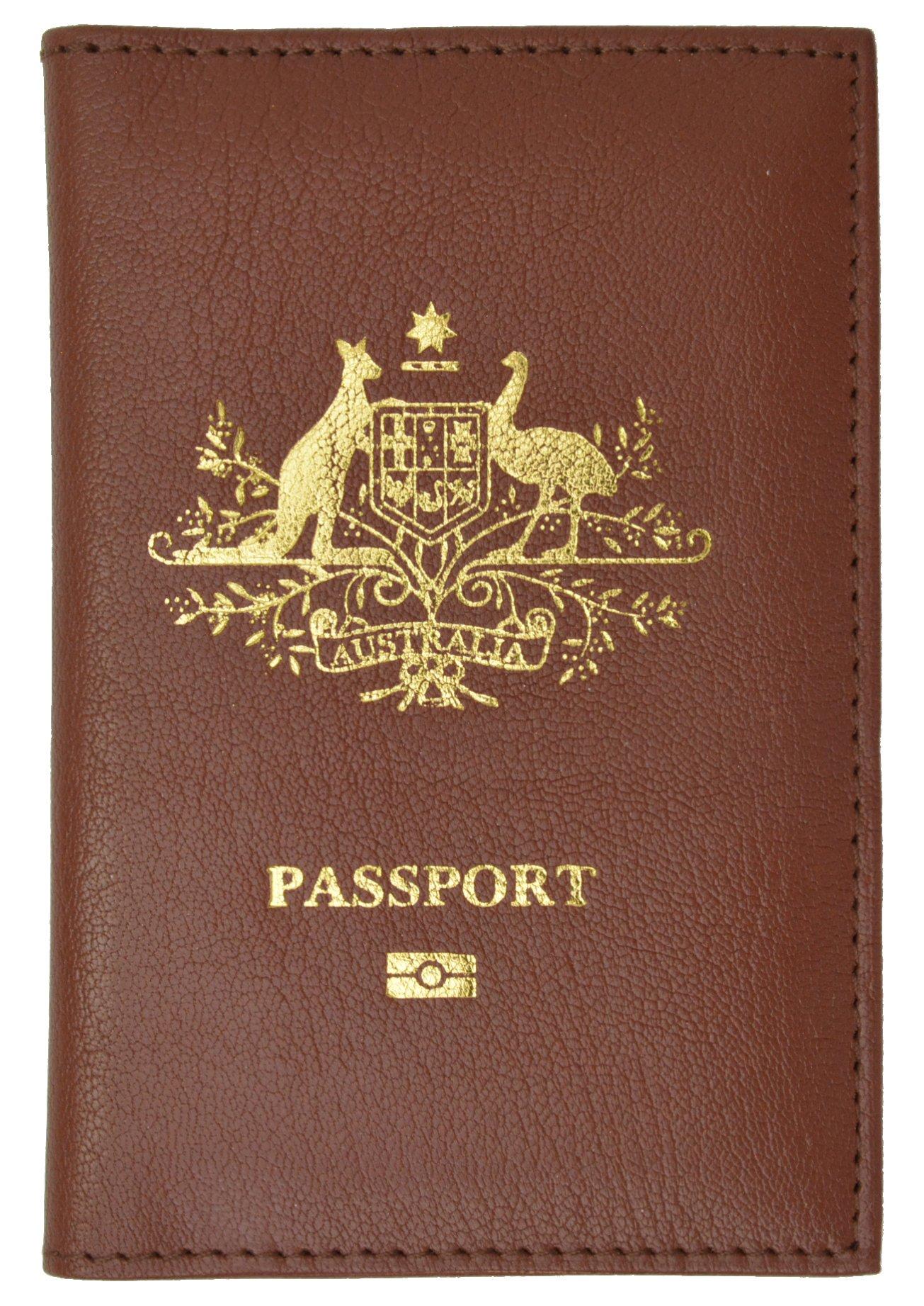 Australia Passport Cover Genuine Leather Passport Wallet for Travel (Burgundy)