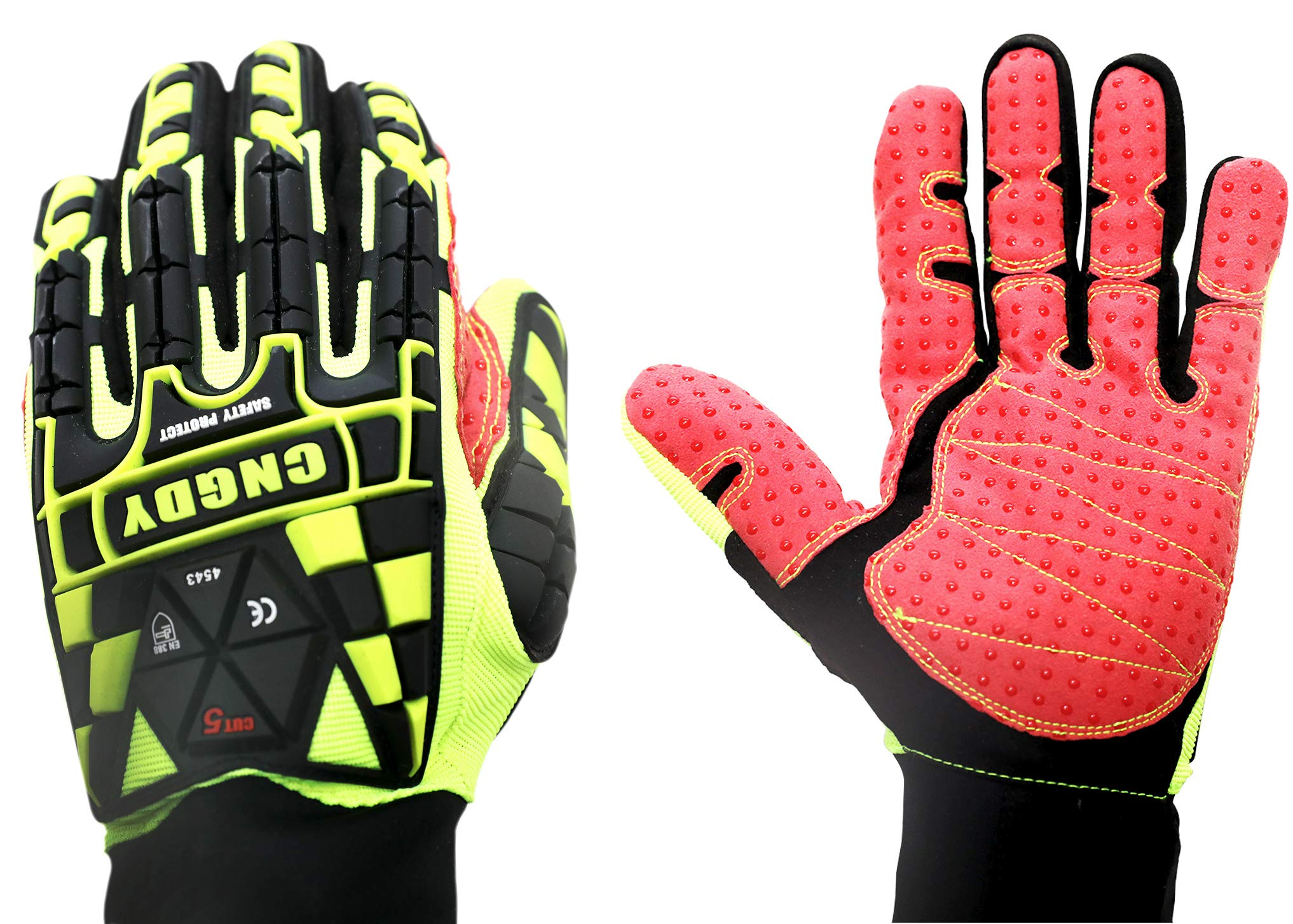 CNGDY Industrial Oil & Gas Gloves Impact Protection Cut Resistant Gloves Impact Reducing Safety Gloves High Abrasion Heavy Duty Safety TPR Pads Gloves Green Size XL