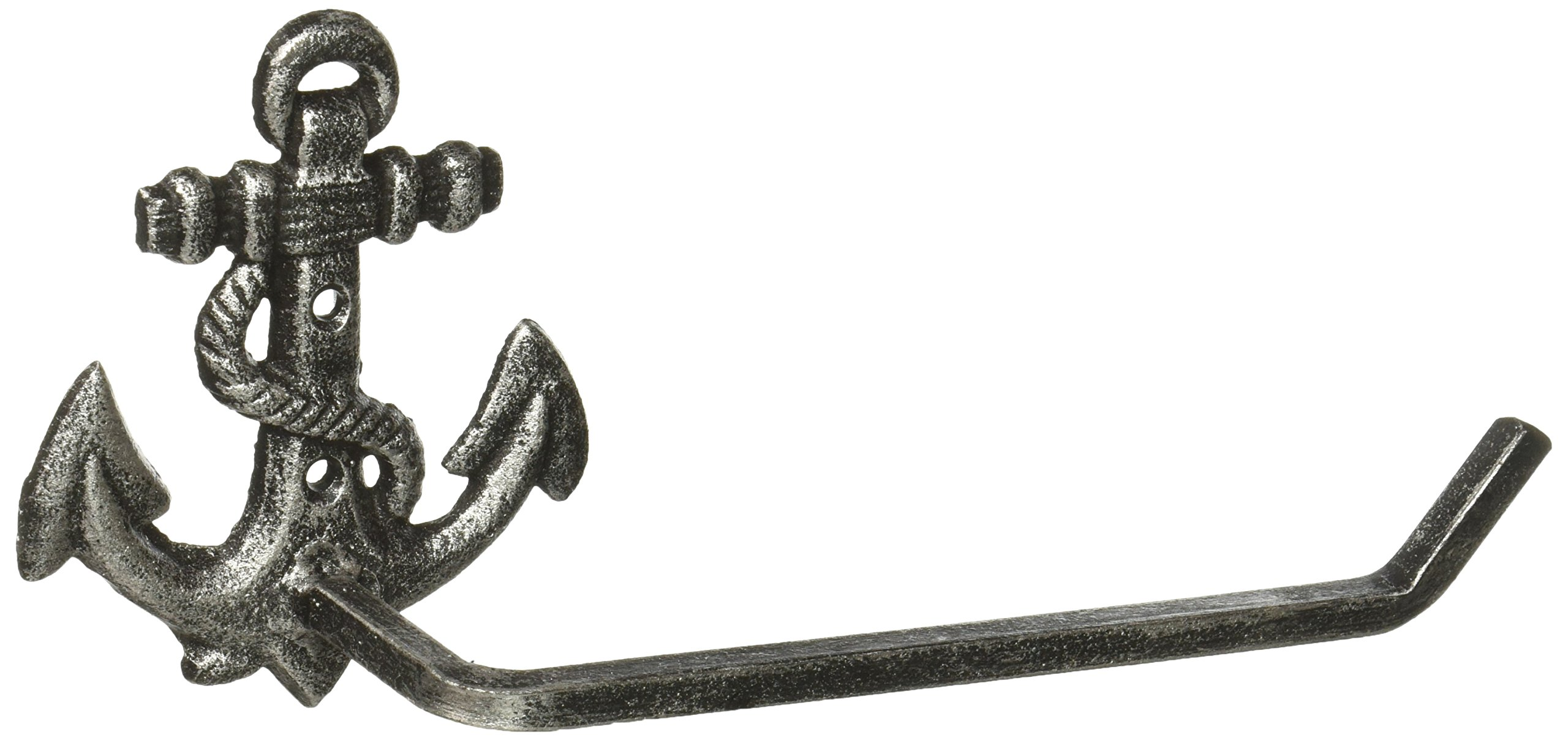 Hampton Nautical K-9210-silver Antique Silver Cast Iron Anchor Toilet Paper Holder 10'' - Beach Bathroom Decoration - Beach Home Decorating