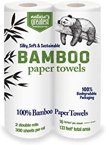Nature's Greatest,100% Bamboo & Sugarcane Kitchen Paper Towels, 2 Ply, 115 Sheets, 2 Rolls (Pack of 12), Total 24 Rolls, Packaging May Vary