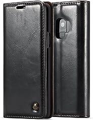 Capa Carteira para Galaxy S9, CASEME Wallet [MAGNÉTICO][COURO][DINHEIRO e 2 CARTÕES], Samsung Galaxy S9 (G960) - Preta