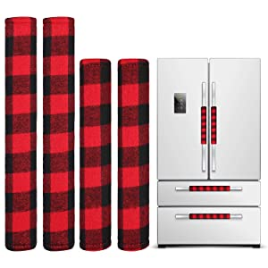 4 Pieces Christmas Refrigerator Door Handle Cover, Snowman Kitchen Appliance Microwave Oven Dishwasher Handle Cover for Christmas Decorations (Red and Black Plaid)