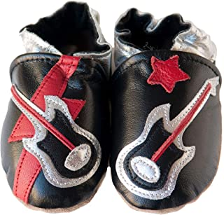 product image for ROCK STAR (black) Handmade in USA, All-Natural Leather Baby Shoes.