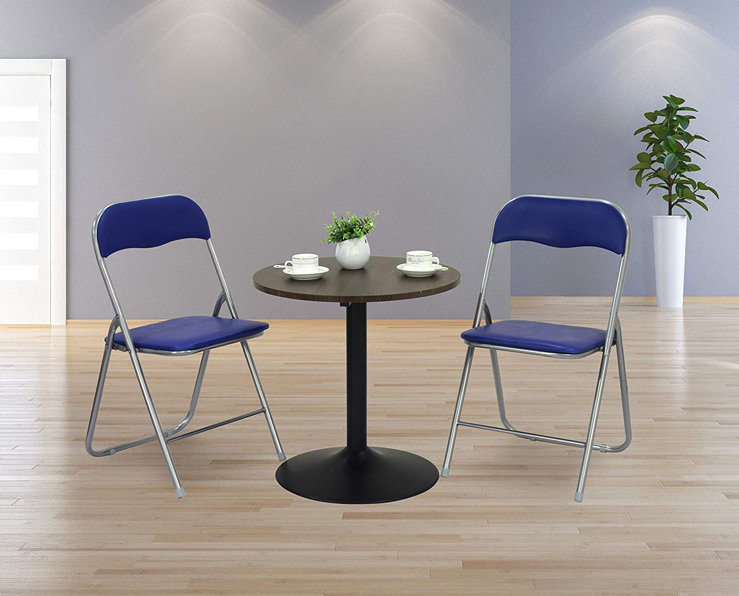 Folding Chairs with Upholstered Seat Back with Metal Frame Casual Office Training Chairs (2)