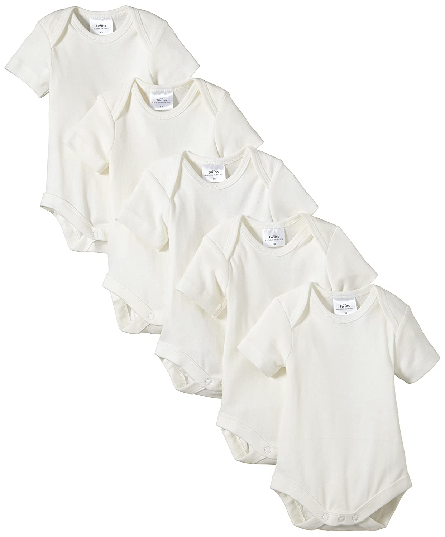 Twins Baby-Unisex Kurzarm-Body aus Bio-Baumwolle 5er Pack