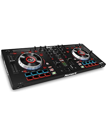 Numark Mixtrack Platinum - Controlador de DJ de 4 Decks con Pantallas LCD Integradas, Jog
