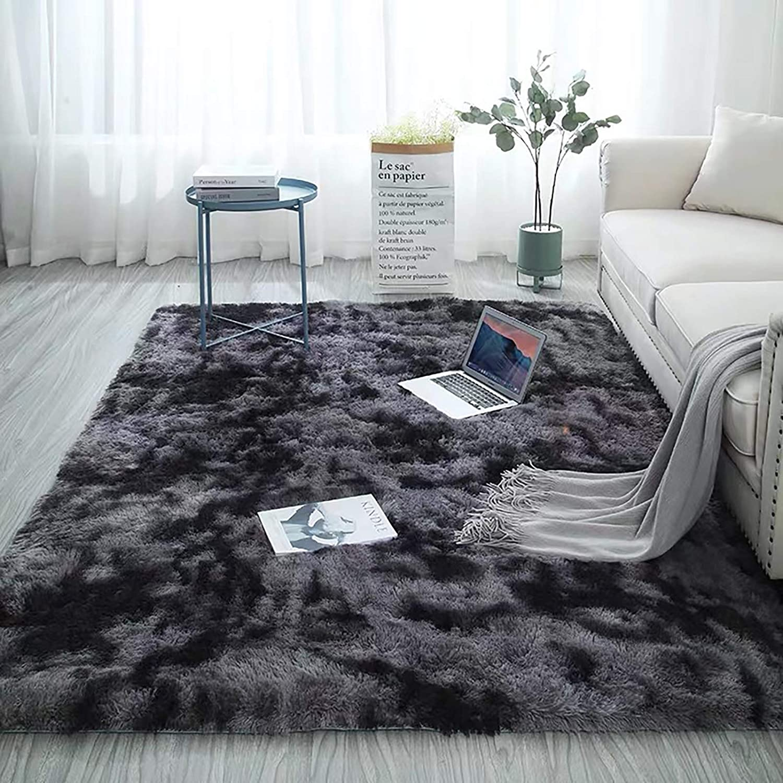 EVEPRUS Soft Modern Area Bedroom Rugs-4 x 5.3 Feet Indoor Shaggy Plush Area Rug for Boys Girls Kids Baby College Dorm Living Room Home Decor Floor Carpet,Dark Grey