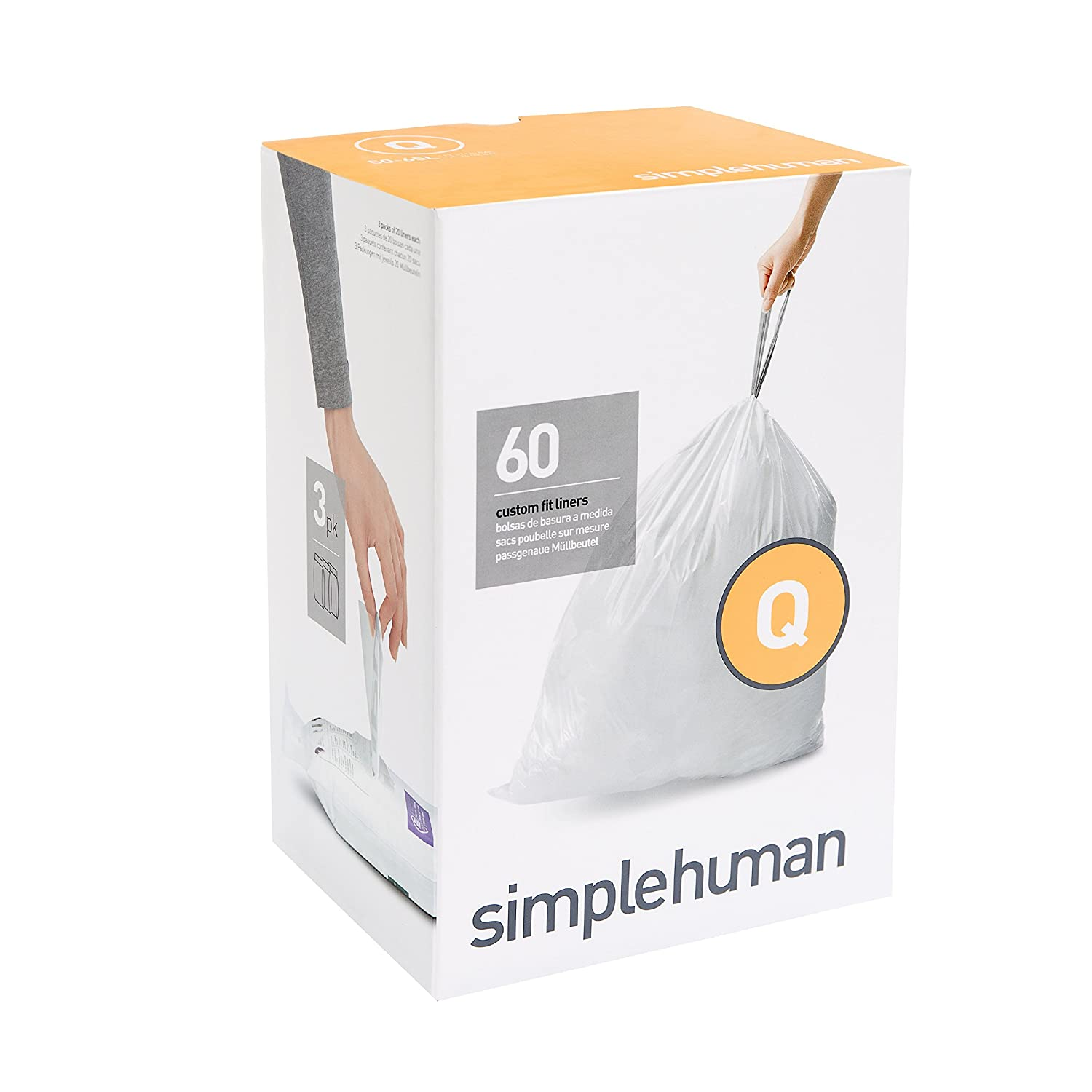 Amazon.com: simplehuman Code Q Custom Fit Liners, Extra Large, Extra Strong  Trash Bags, 50-65 Liter / 13-17 Gallon, 3 Refill Packs (60 Count): Home &  ...