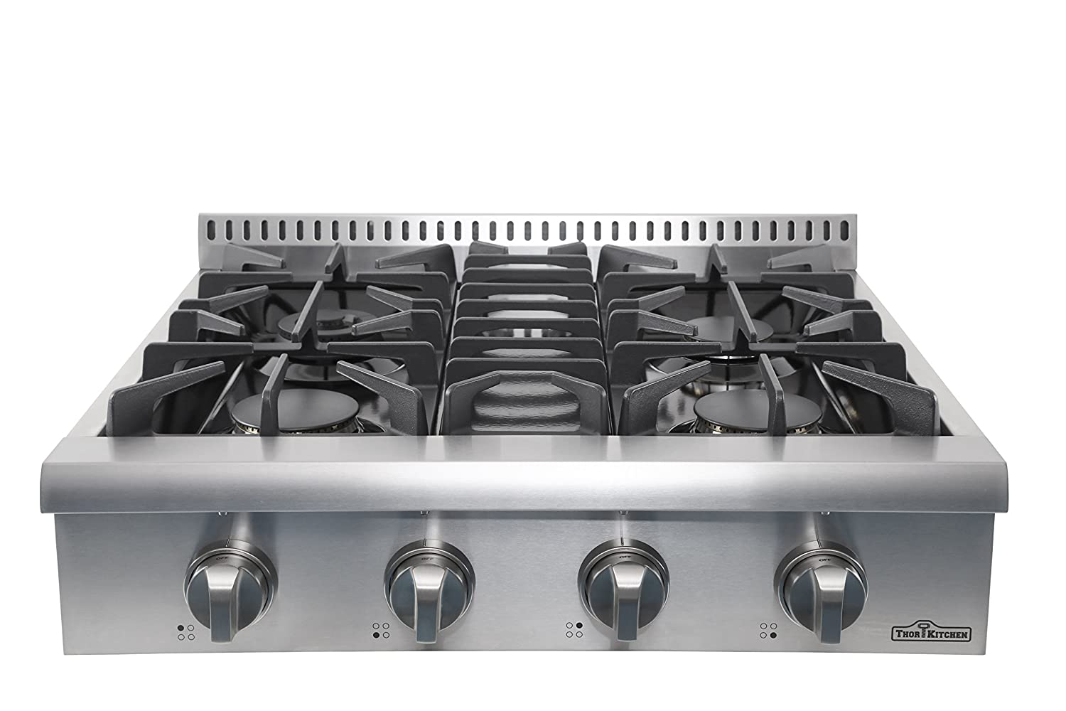 "Thor Kitchen 30"" Pro-Style Stainless Steel Gas Rangetop, Gas Stove Top Cooker with 4 Sealed Burners and Light Up Control Knob - HRT3003U (NO Conversion Kit)"
