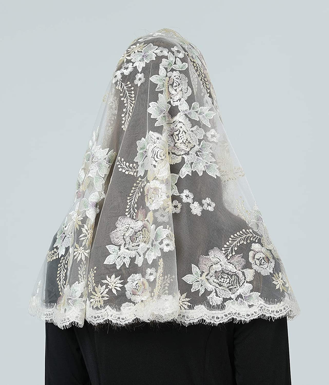 BEAUTELICATE Velo Di Pizzo Da Sposa Chiesa Cattolica Messa Triangolare Infinito Mantila Sciarpa Copricapo In Latino Champagne Oro V116