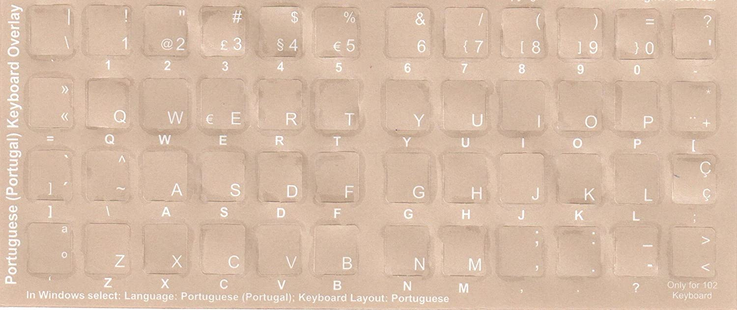 Portuguese Keyboard Stickers Transparent Laptop Overlays White For