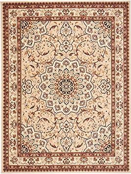 Carpeto Orientteppich Teppich Beige 70 x 130 cm Medaillon