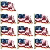 Captivating Bassion 10 Pcs American Flag Pins Waving United States Patriotic USA Lapel  Pin