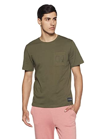 5bf1f5461f3f Calvin Klein Jeans Men's Printed Regular Fit T-Shirt (J309781371_Grape  Leaf_X-Large)