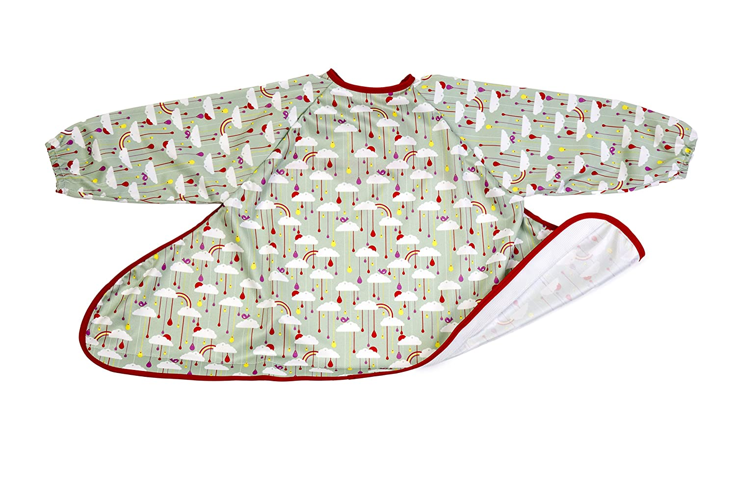 Tidy Tot Bib Apples and Pears. Unisex. One Size fits 6 months - 2 years. Waterproof. Adjustable Fit. Long Sleeved. Complete coverall. Award Winning Design. No spills! TIDYTOTDGBIBV2