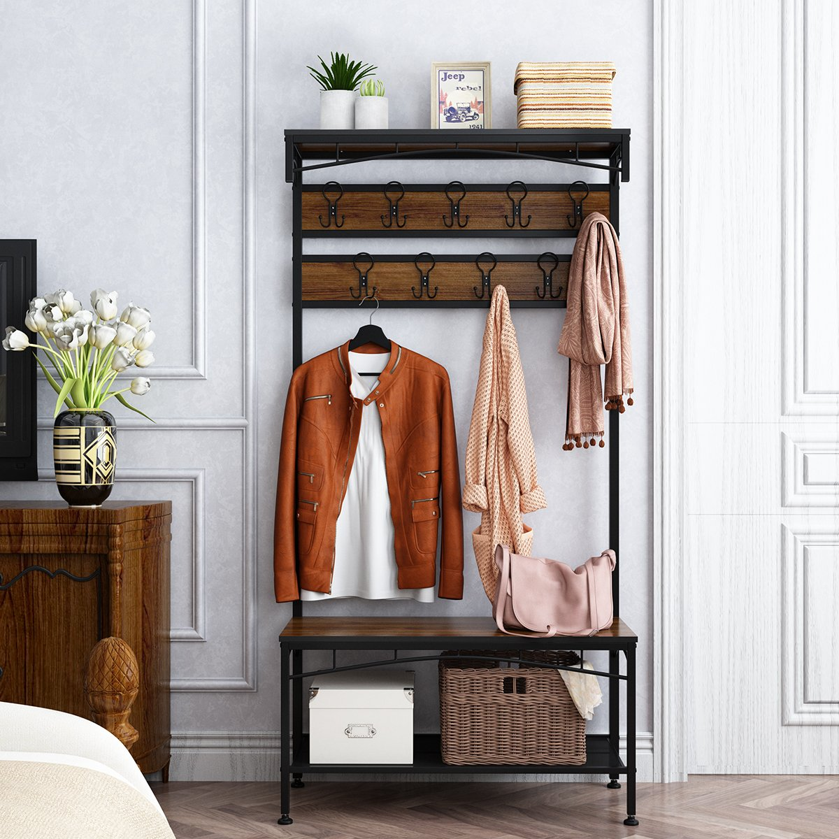 Rackaphile 3-in-1 Entryway Coat Rack, Vintage Metal and Wood Hall Tree with Storage Bench Shoe Rack Entryway Storage Shelf Organizer with 18 Hooks