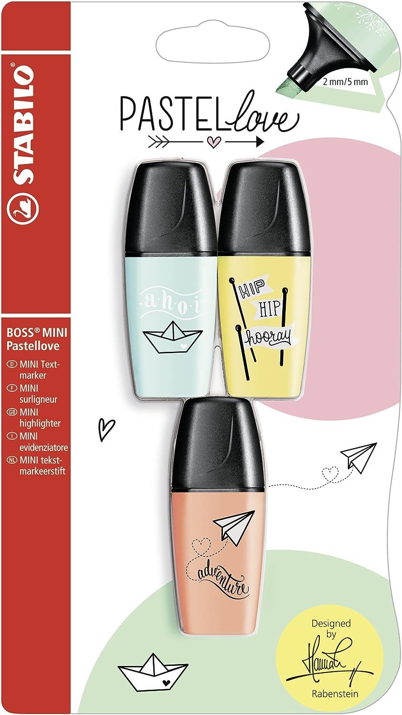 Resaltador – STABILO BOSS MINI Pastel Love – 3 Pack – turquesa, tierna pudriges Amarillo, Cremoso melocotón Color: Amazon.es: Oficina y papelería
