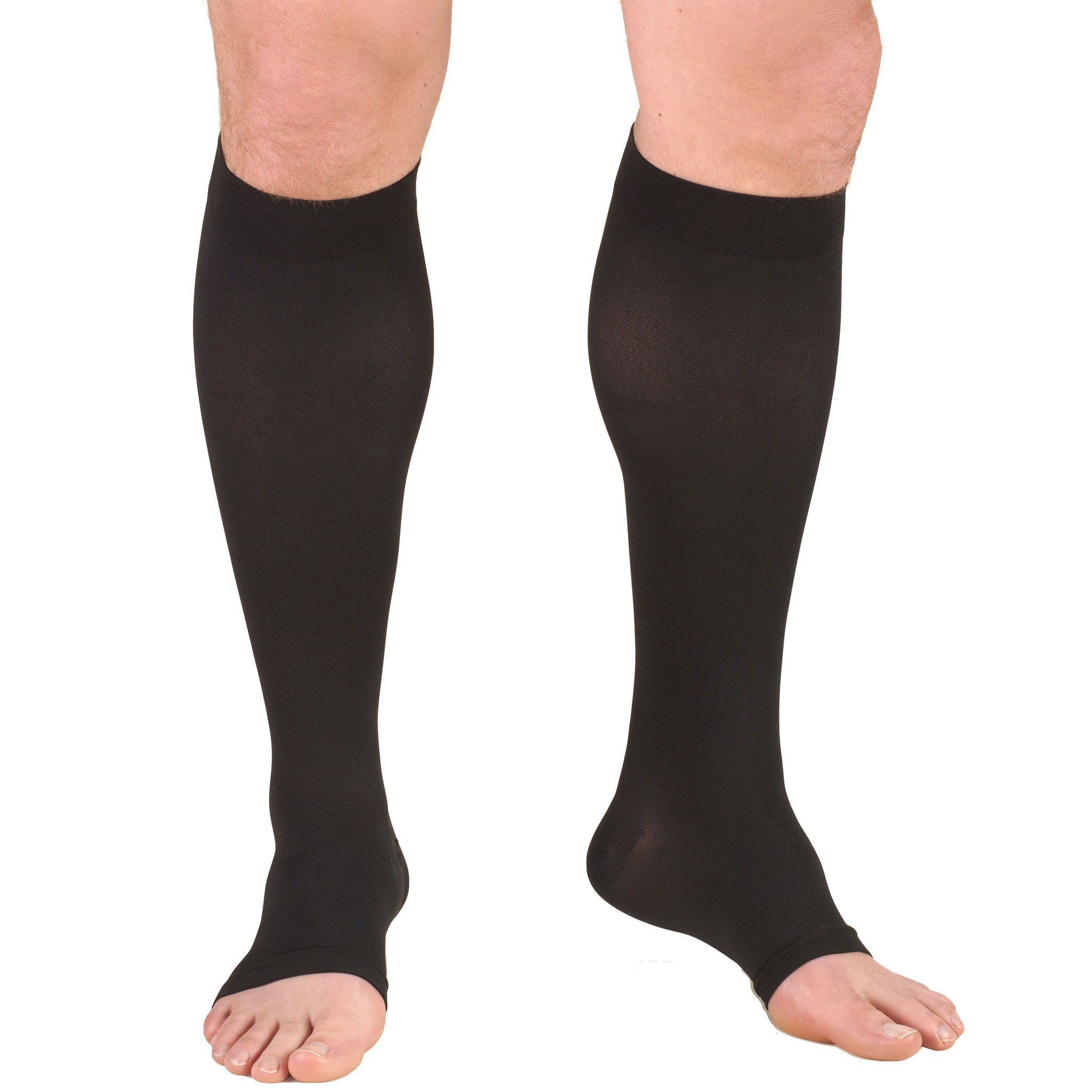 Truform Compression Stockings, 20-30 mmHg, Knee High, Open Toe, Black, Small