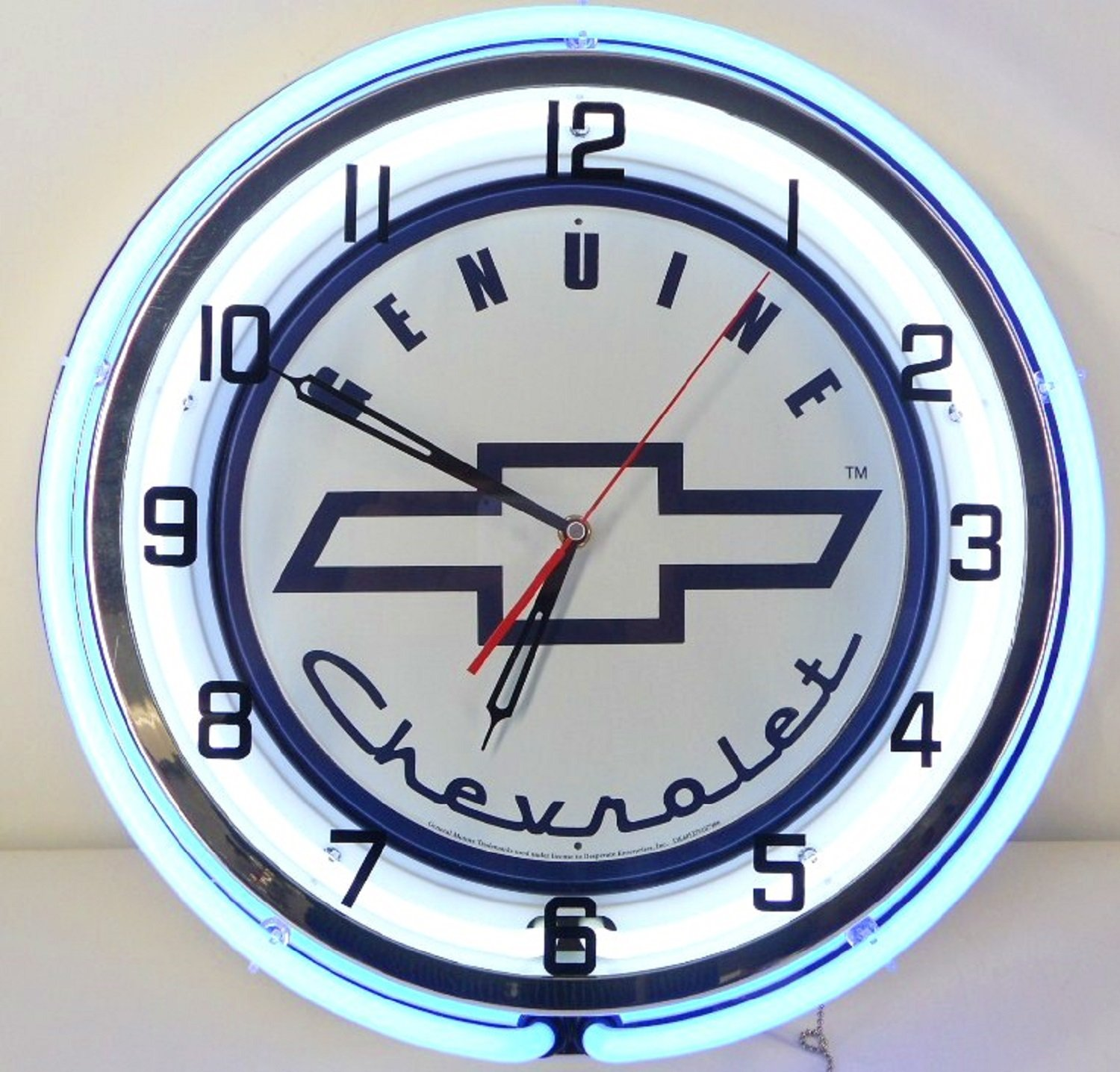 Genuine Chevy 18'' Double Neon Lighted Wall Clock Sign white / blue by Chevrolet