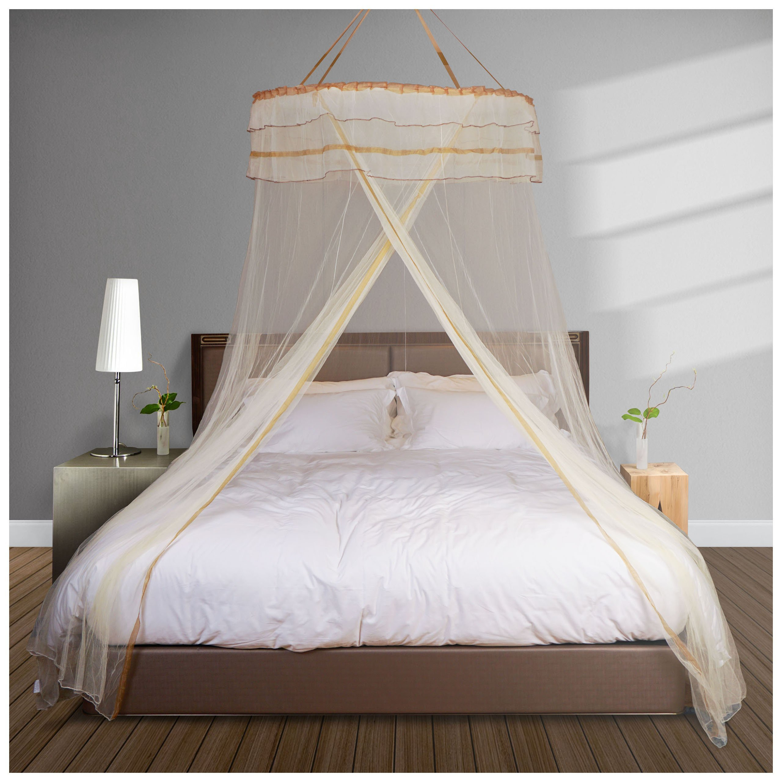 DIMPLES EXCEL Mosquito Net Bed for Double Fine Mesh Material flexible steel Roof of 4ft Diameter Popup with Hanging Kit (apricot)
