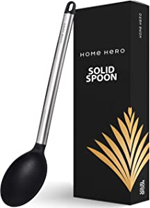 Silicone Spoon Large Cooking Spoon Basting Spoon - Solid Serving Spoon for Cooking - Large Kitchen Spoon Non Slotted Spoon Nonstick Serving Spoon - Solid Spoon Big Spoons for Cooking Basting Spoons