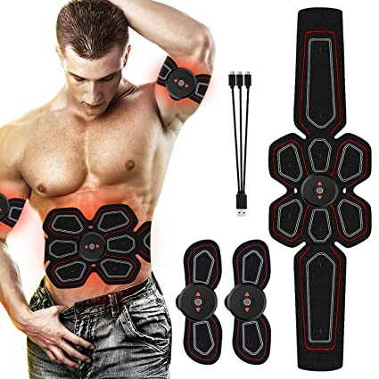 bf4798d9c0 RoMere ABS Stimulator Muscle Toner Abdominal Toning Belt Workouts Portable EMS  Training Home Office Fitness Equipment