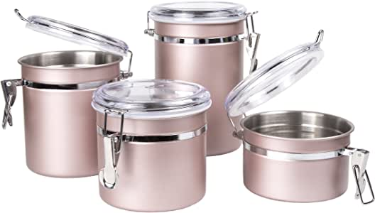 Creative Home 4-Piece Stainless Steel Canister, Container Set with Air Tight Lid, and Locking Clamp, Rose Gold