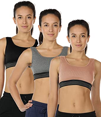 1abd110a2e8 icyzone Cotton Sports Bras Women - Activewear Workout Yoga Exercise Gym  Fitness Racerback Bra (Pack