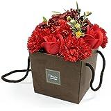 Rojo Rosa y Clavel ramo de jabón fragancia aromática baño pétalos papel de regalo para su mujeres Ladies Regalos romántico día de San Valentín cumpleaños madre esposa novia