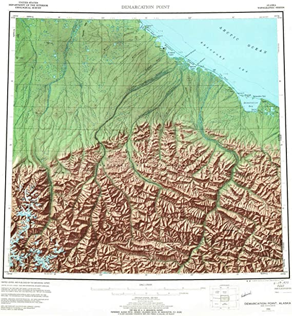 22.5 x 22 in Historical 1:250000 Scale YellowMaps Demarcation Point AK topo map Updated 1988 1 X 3 Degree 1955