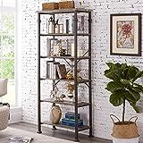 Hombazaar 6-Tier Tall Bookshelf, Vintage Industrial Metal Bookcase Display Rack and Storage Organizer for Living Room…