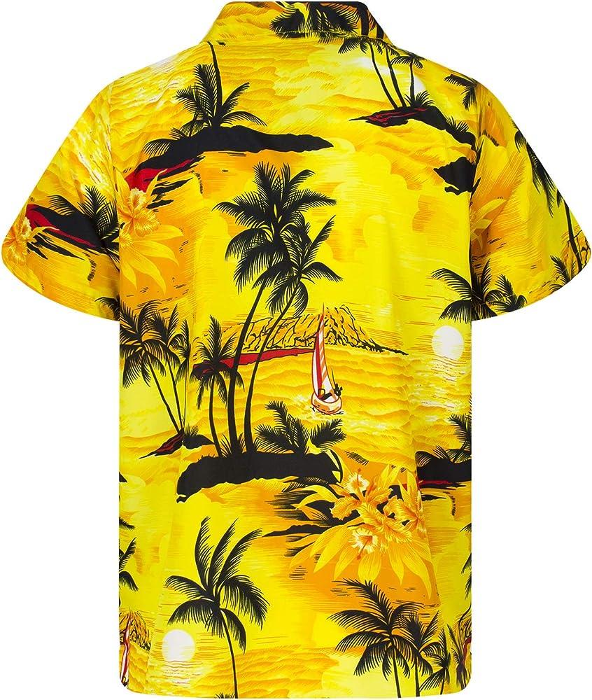 Funky Camisa Hawaiana, Manga Corta, Surf New, Amarillo, XS: Amazon.es: Ropa y accesorios