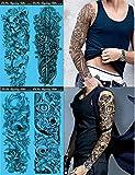 DaLin 4 Sheets Extra Large Temporary Tattoos, Full Arm (Set 9)