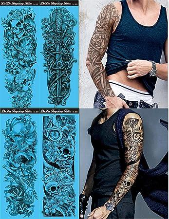 123a0acb4 Amazon.com : DaLin 4 Sheets Extra Large Temporary Tattoos, Full Arm (Set 9)  : Beauty