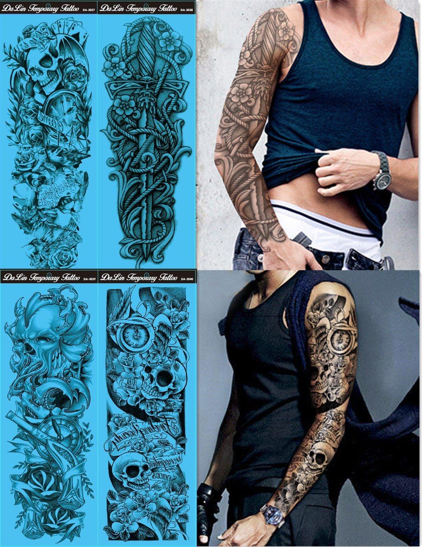 Amazon Com Full Arm Temporary Tattoo Konsait Extra Temporary