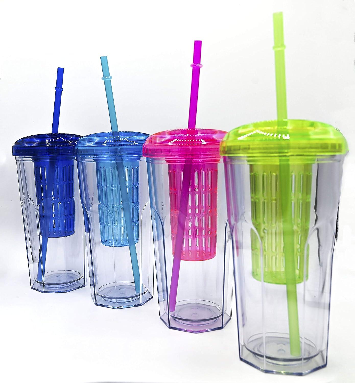 ML Pack 2 Vasos de Batidos infusiones de plástico sin BPA con Tapa y Pajitas - Bebidas heladas y frías Doble Pared Envase Transparente 710ml Verde Lila