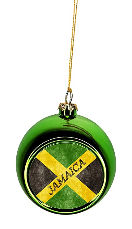 Rosie Parker Inc Flag Jamaica Jamaican Grunge Bauble Christmas Ornaments Green Bauble Tree Xmas