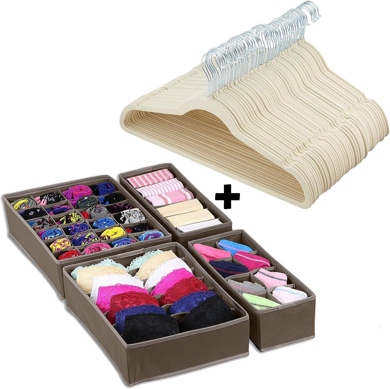 Closet OrganizerBlack Halter Velvet Hangers 50 Pack Non Slip Suit Hanger