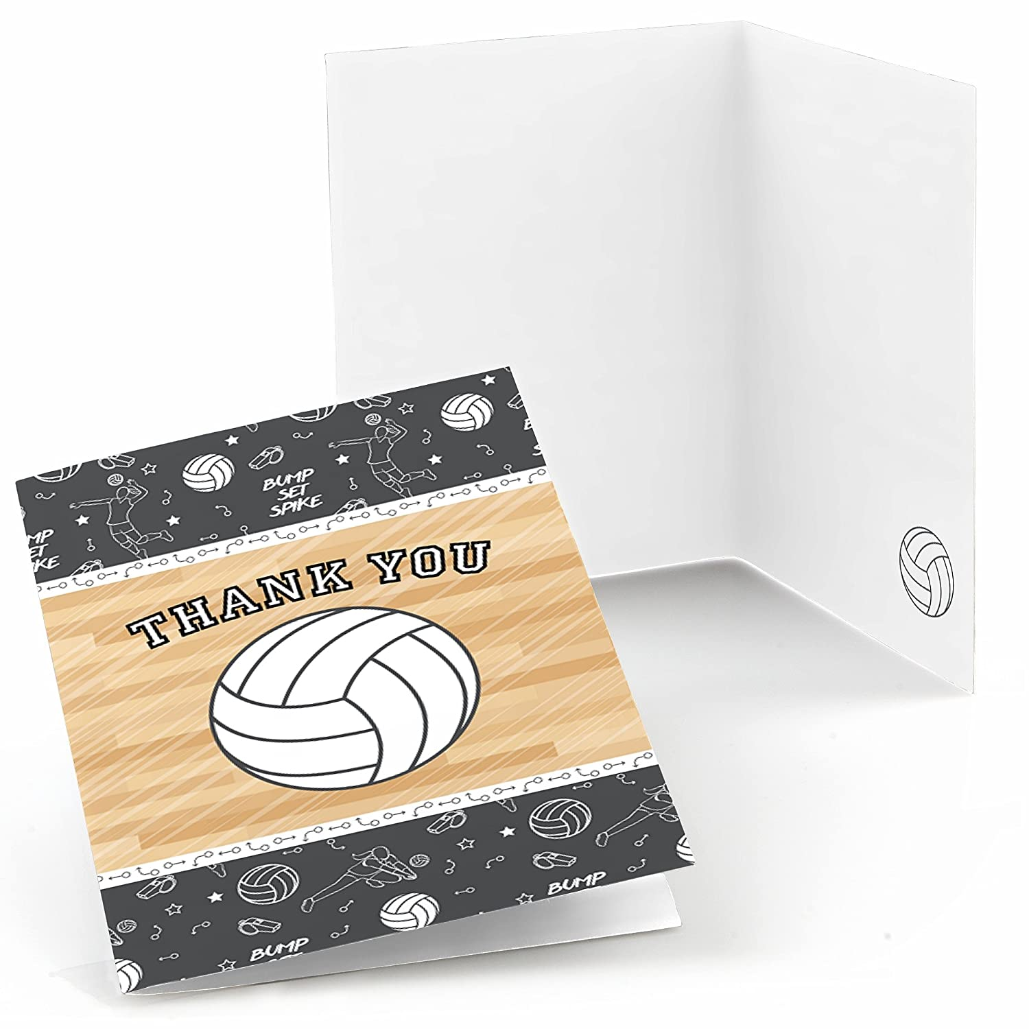 Bump Set Spike Volleyball Baby Shower or Birthday Party Thank You Cards Set of 24