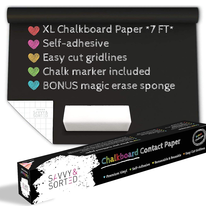 Amazon.com: Papel de contacto de pizarra negra XL – 5.6 ft ...