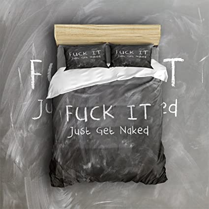 Libaoge 4 Piece Bed Sheets Set Funny Quote Fuck It 1 Flat Sheet 1 Duvet Cover And 2 Pillow Cases