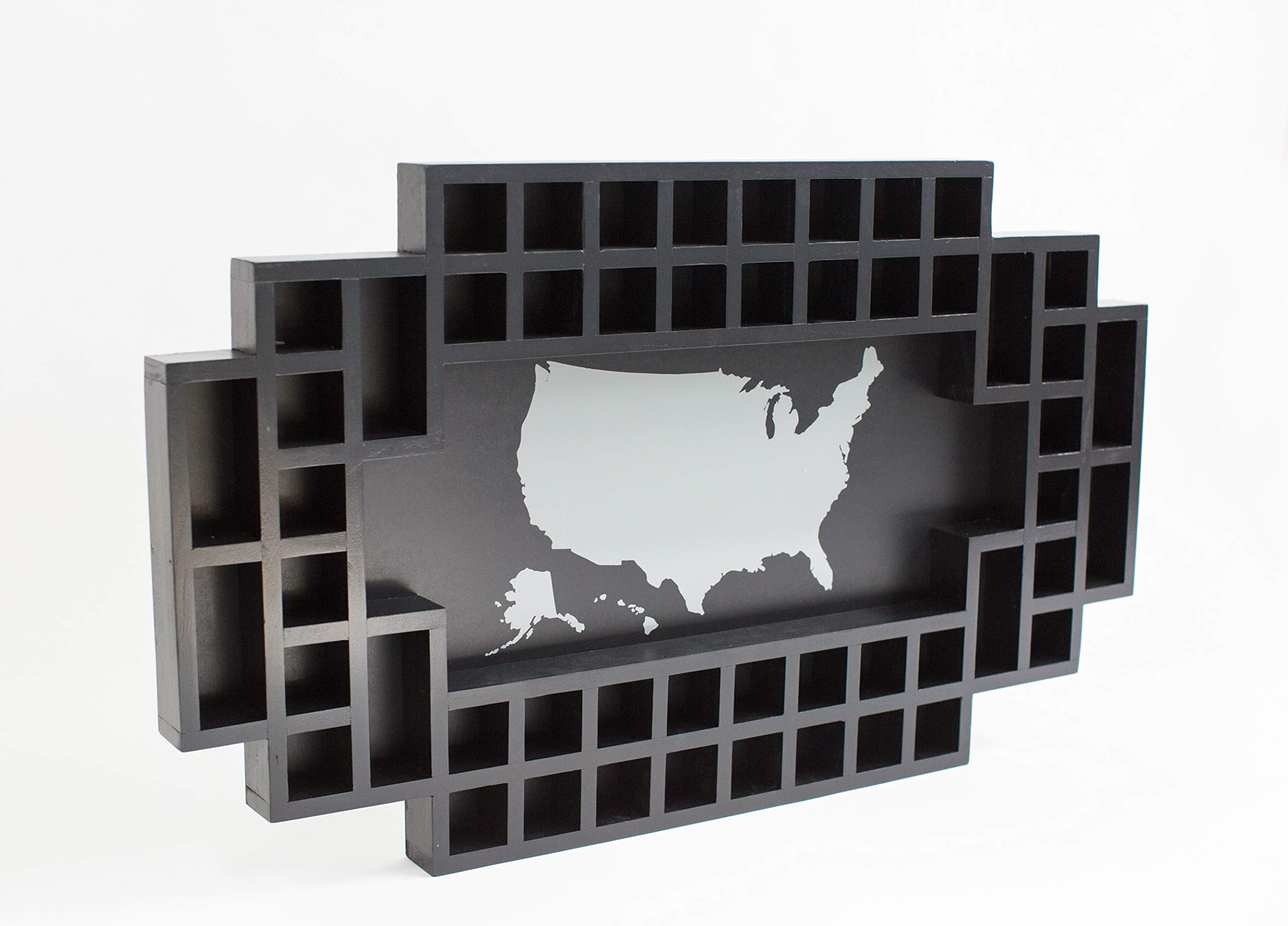 Shot Glass Display Frame - 52 Spaces - Solid Wood Frame - World Map - US Map (Black, US Map) by Reno Direct LLC (Image #3)