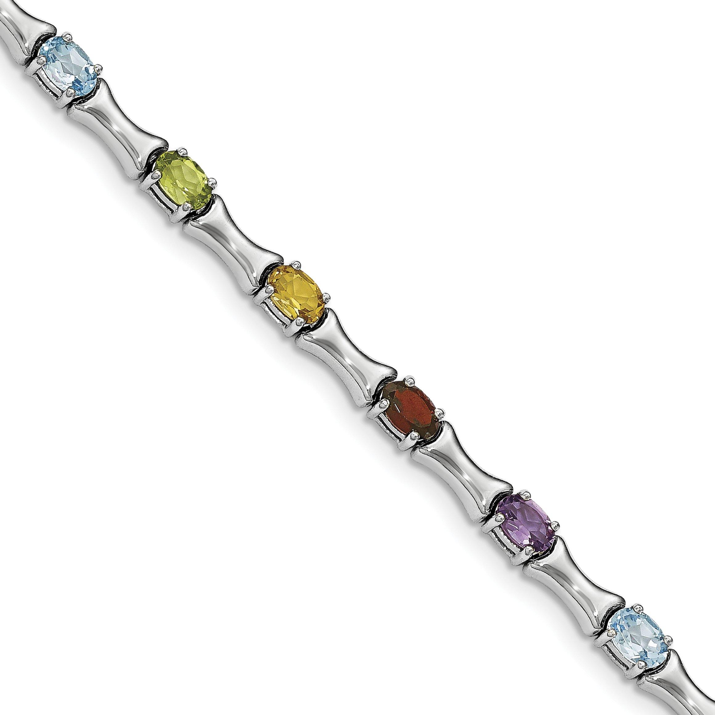 ICE CARATS 925 Sterling Silver Multi Gemstone Bracelet 7.25 Inch Fine Jewelry Gift Set For Women Heart