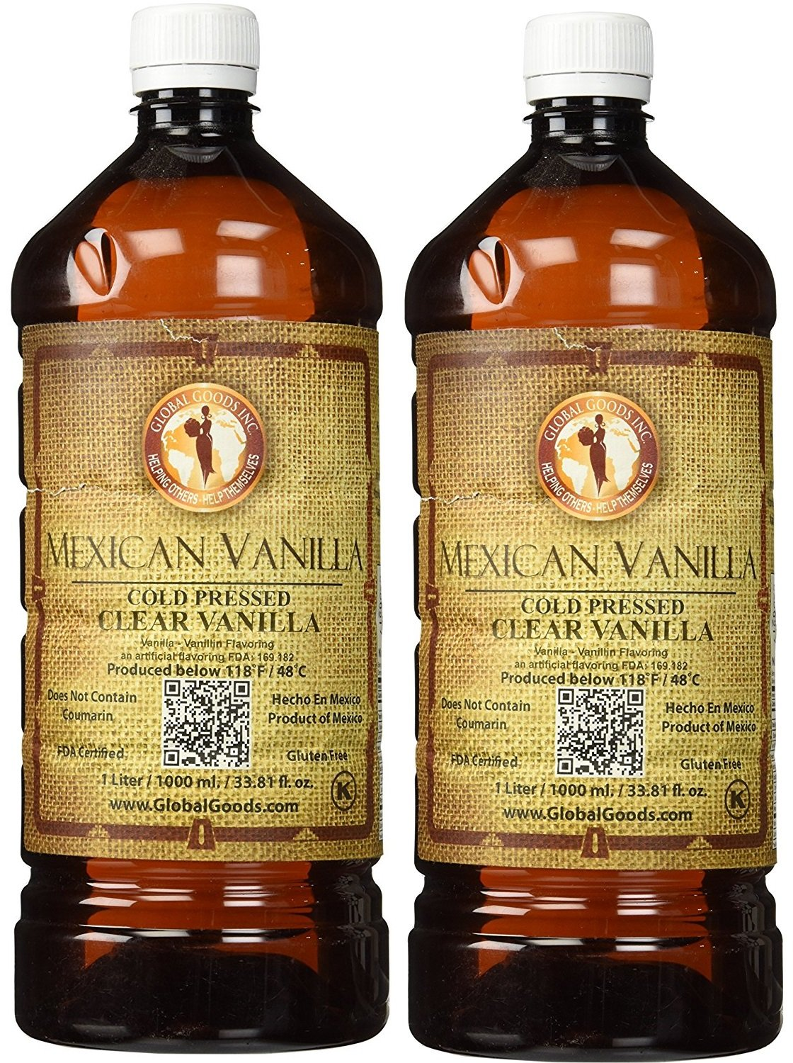 Global Goods Clear Mexican Vanilla Cold Pressed 1 Liter / 33.8 Oz (Pack of 2) by Global Goods Clear Mexican Vanilla