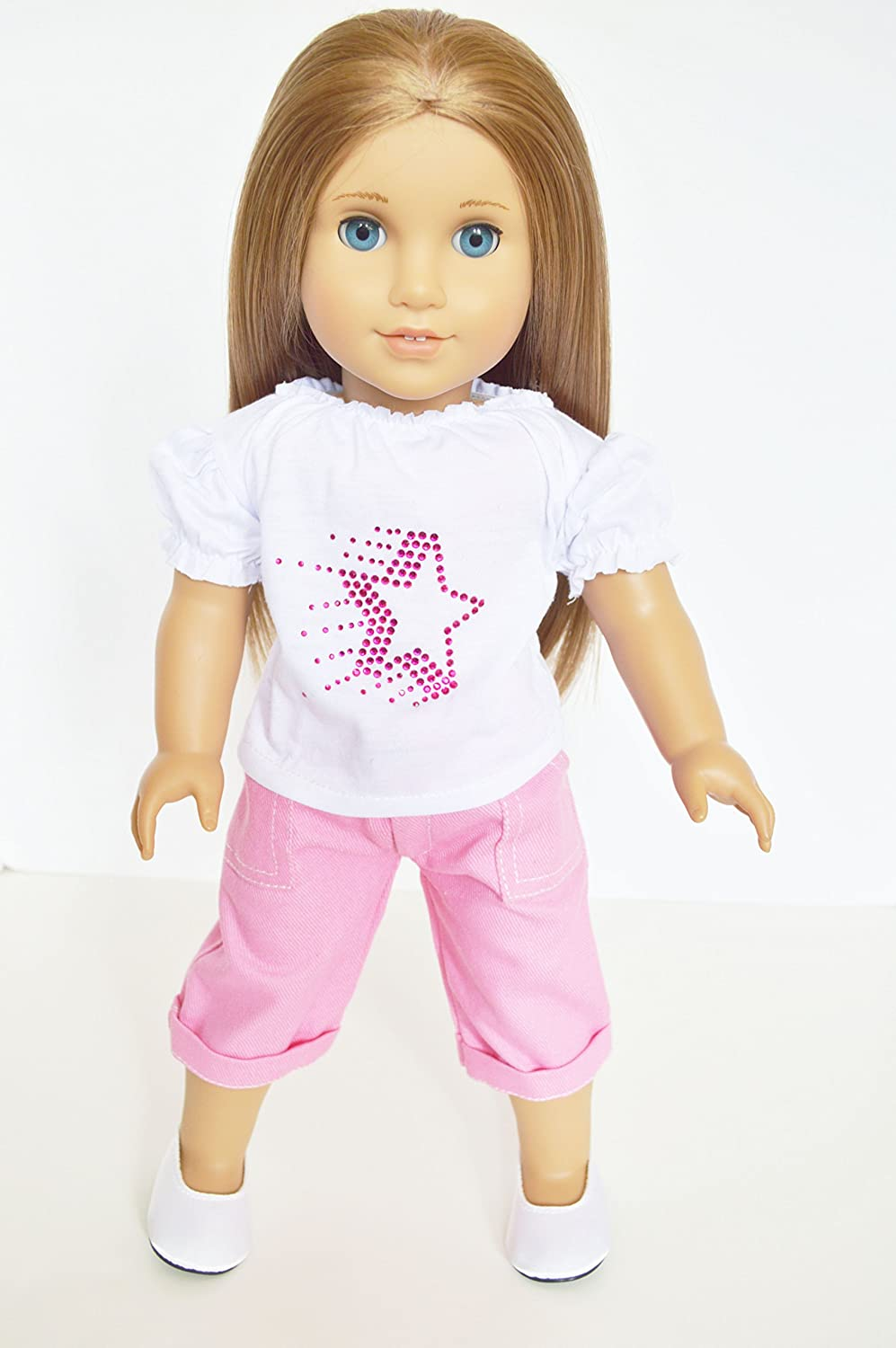 WHITE STAR TOP WITH CAPRIS FOR AMERICAN GIRL DOLLS Brittany' s