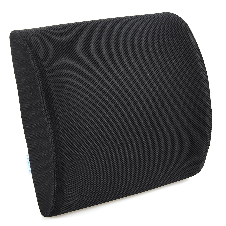 L 'alysseソフトメモリフォームメッシュ腰椎サポート枕Back cushion-reduces応力背面に 12month ブラック B01M7QPL20 B01M7QPL20ブラック