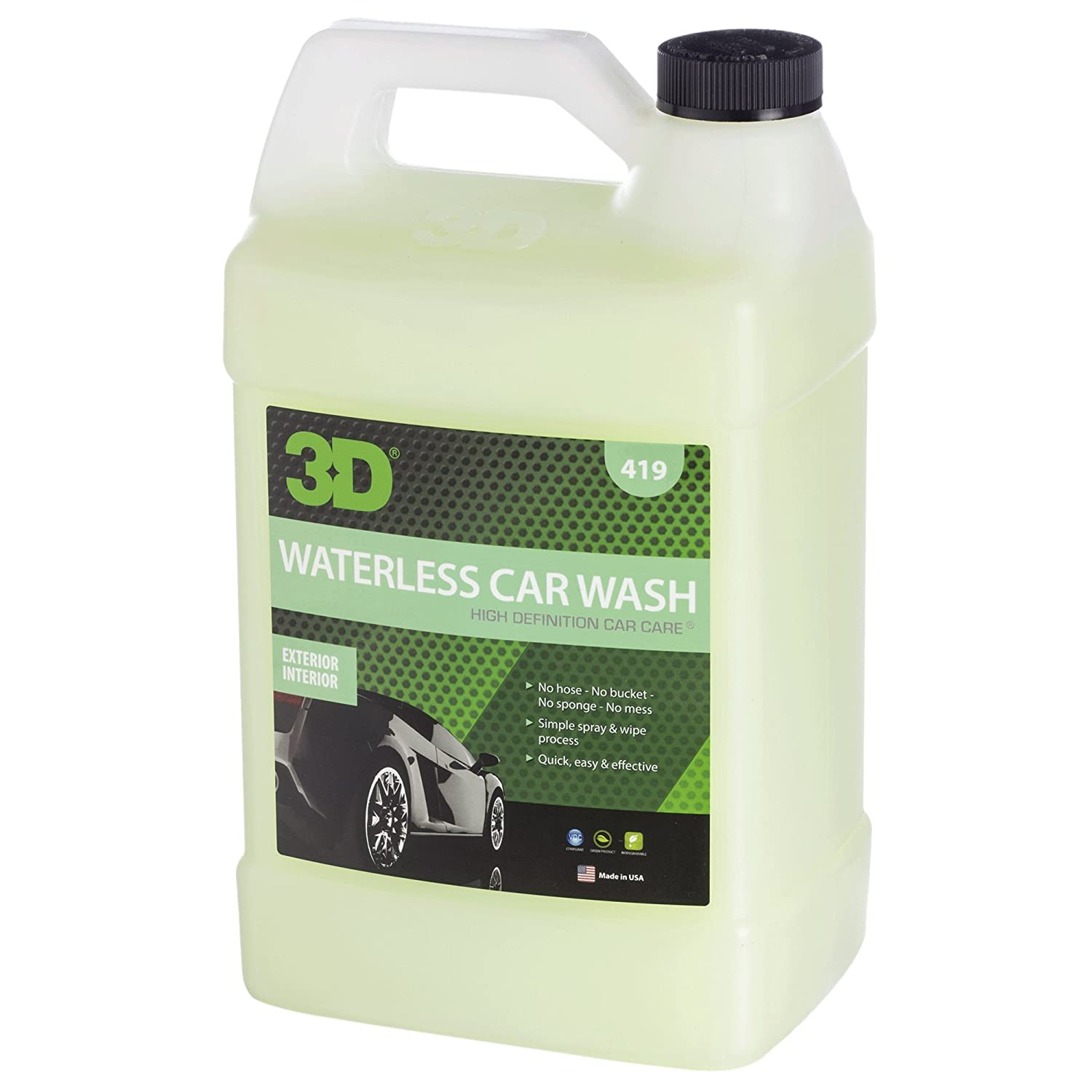 3d Waterless Car Wash 1 Gallon Spray On Easy Express Clean Environmentally Friendly Biodegradable Auto Care Made In Usa All Natural No