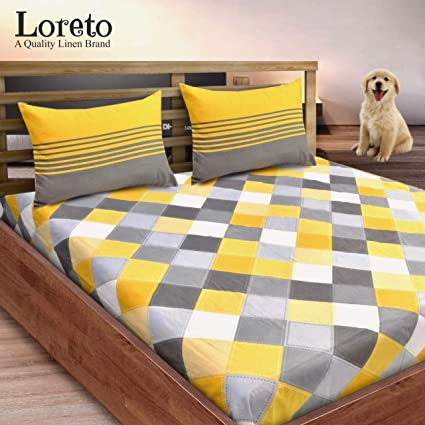 Loreto - A Quality Linen Brand 144 TC 100% Cotton Double Bedsheet with 2 Pillow Covers,�